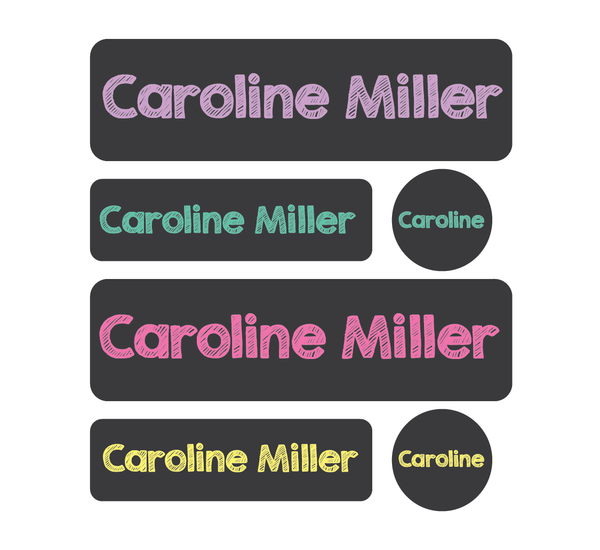 Daycare Pack - Set of 60 Waterproof Labels - Chalkboard Pastel - MeY Decals