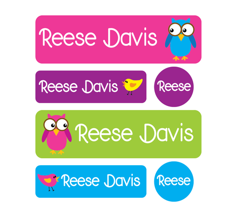 Daycare Pack - Set of 60 Waterproof Labels - Owls and Birds - MeY Decals