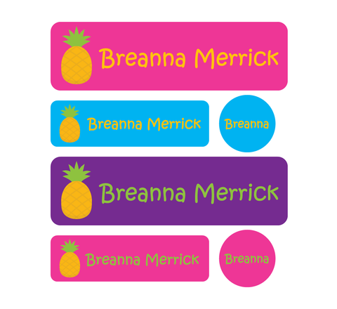 Daycare Pack - Set of 60 Waterproof Labels - Pineapples - MeY Decals