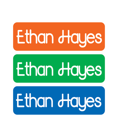 Iron On Labels - Solid - Orange, Green, Blue - MeY Decals
