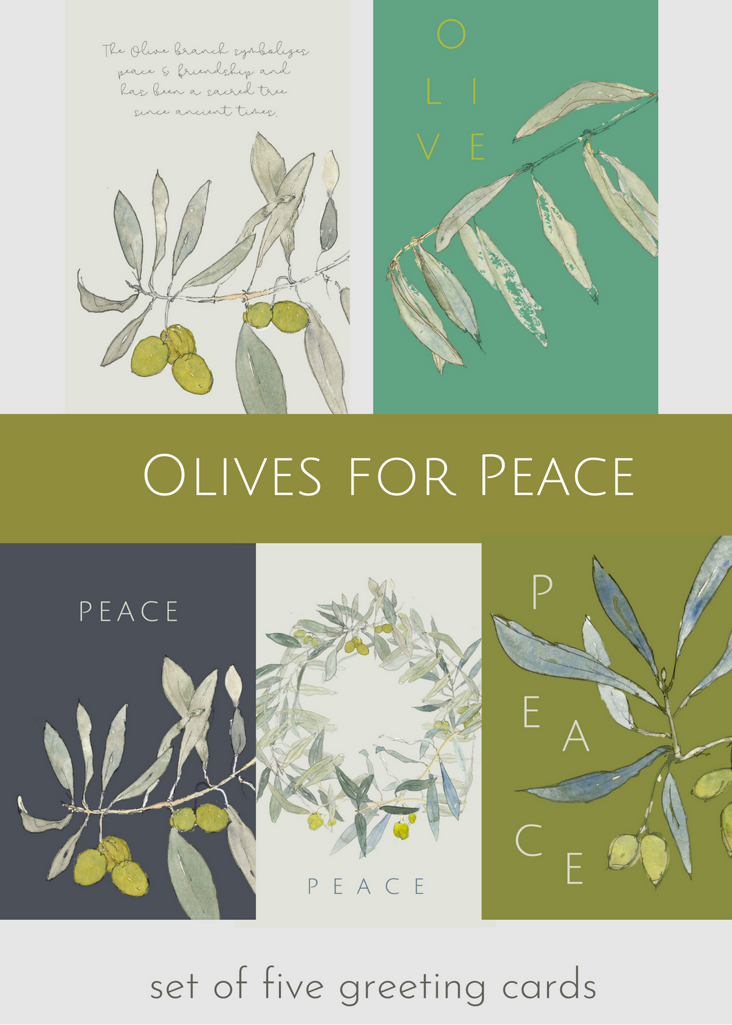 Olive Leaves for Peace, set of 5