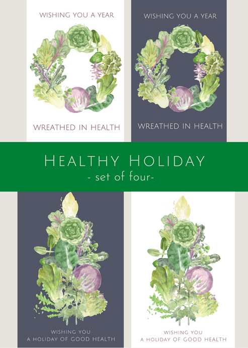 Healthy Holiday, set of four greeting cards