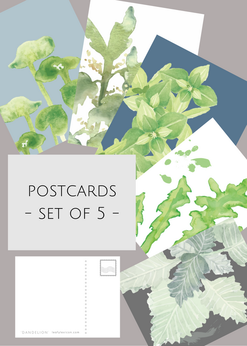 Postcards, set of five