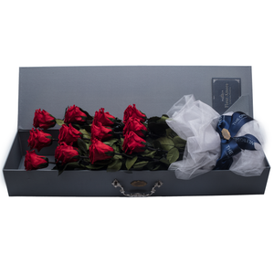 12 Long Stem Red Preserved Roses Luxury Bouquet