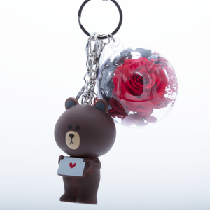 RED PRESERVED ROSE | BROWN ROSE BEAR KEYCHAIN