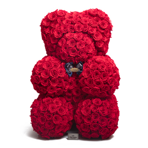 35 Inches Tall Giant Red Preserved Rose Bear | Local Delivery/Pickup Only