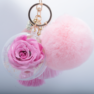 PINK PRESERVED ROSE | PINK FLUFFY BALL WITH FADED PINK THREAD TASSELS KEYCHAIN