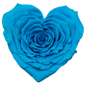 Blue with Crystal Dust Heart Shape Preserved Rose | Beauty and The Beast Glass Dome