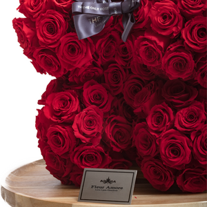 15 Inches Tall Giant Red Preserved Rose Bear | Local Delivery/Pickup Only