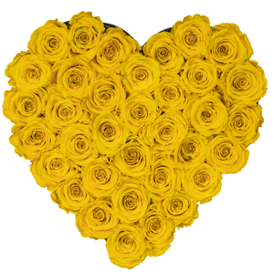 Yellow Preserved Roses | Heart Black Huggy Rose Box