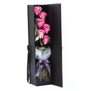 The Only Extra | 6 Pink Preserved Long Stem Roses Bouquet