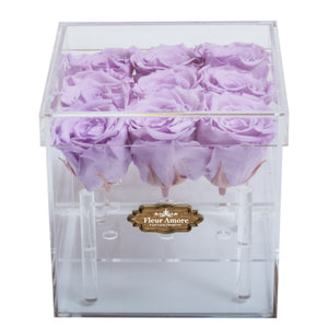 LIGHT PURPLE PRESERVED ROSES | SMALL ACRYLIC ROSE BOX