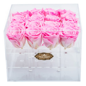 PINK COLOR PRESERVED ROSES | MEDIUM ACRYLIC ROSE BOX