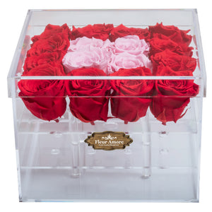 RED AND LIGHT PINK COLOR PRESERVED ROSES | MEDIUM ACRYLIC ROSE BOX