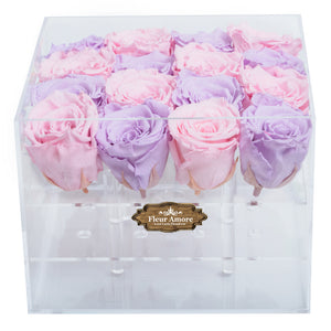 LIGHT PINK AND LIGHT PURPLE PRESERVED ROSES | MEDIUM ACRYLIC ROSE BOX