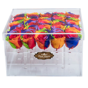 RAINBOW COLOR PRESERVED ROSES | LARGE ACRYLIC ROSE BOX