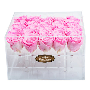 PINK COLOR PRESERVED ROSES | LARGE ACRYLIC ROSE BOX