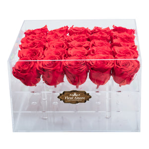 RED PRESERVED ROSES | LARGE ACRYLIC ROSE BOX