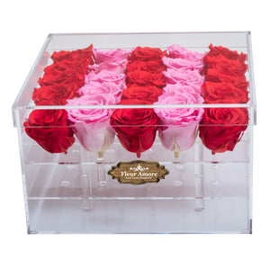 RED AND PINK PRESERVED ROSES | LARGE ACRYLIC ROSE BOX