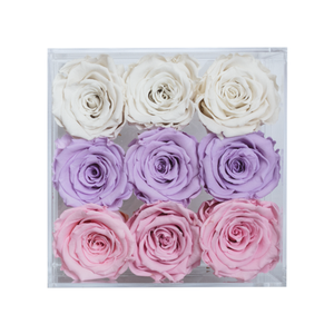 CANDY COLOR PRESERVED ROSES | SMALL ACRYLIC ROSE BOX