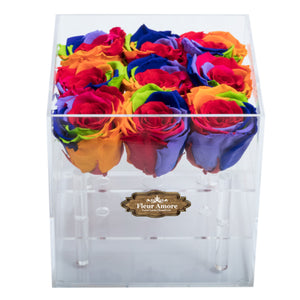 RAINBOW COLOR PRESERVED ROSES | SMALL ACRYLIC ROSE BOX