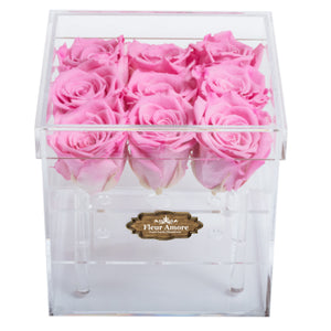 PINK COLOR PRESERVED ROSES | SMALL ACRYLIC ROSE BOX