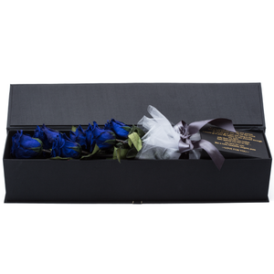 The Only Classic | 6 Royal Blue Preserved Long Stem Roses Bouquet