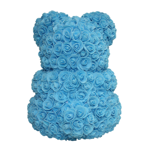 Classic Blue Rose Bear 40cm Tall