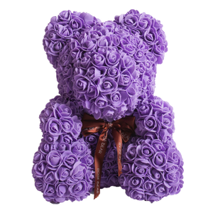 Purple Classic Rose Bear 40cm Tall