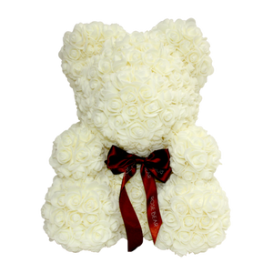 White Classic Rose Bear 40cm Tall