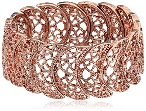1928 Jewelry Rose Gold-Tone Filigree Bracelet