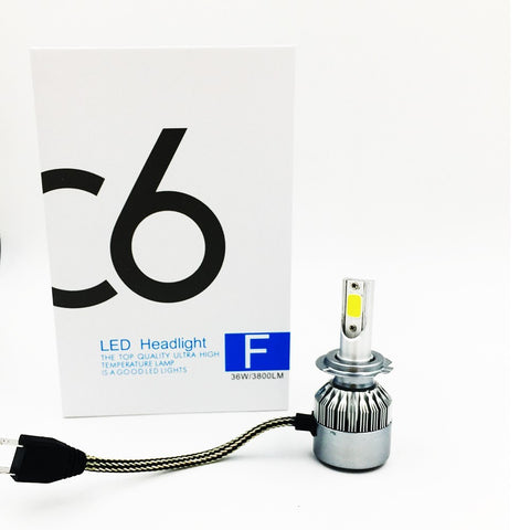 C6 LED Headlight Kit H7-6000k 3800 lumens