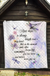 Dragonflies Have Hope Be Strong Premium Quilt PT025