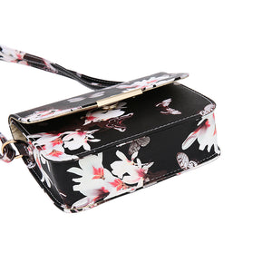New Flower Butterfly Printed Retro PU Leather Shoulder Bag