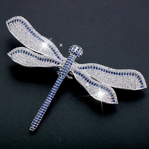 Large Blue White Dragonfly Brooch Rhinestone Luxury Gift for Her