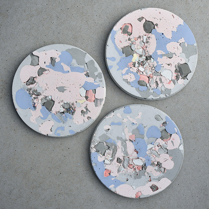 Concrete Trio Wall Art - Small - Blue & Pink