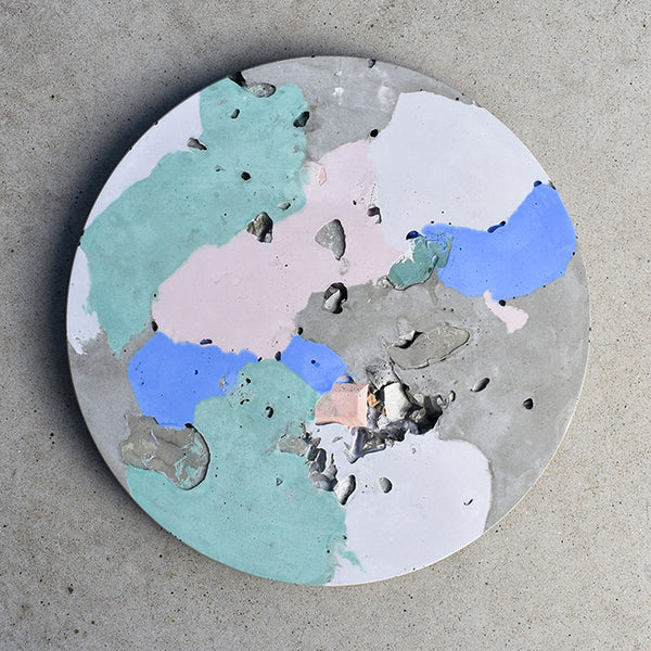 Circular Concrete Wall Art - Large - Green & Blue 02