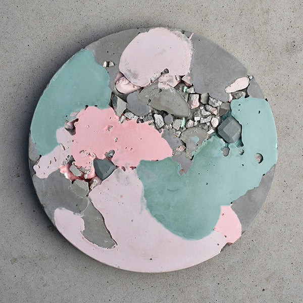Circular Concrete Wall Art - Large - Pink & Green 01
