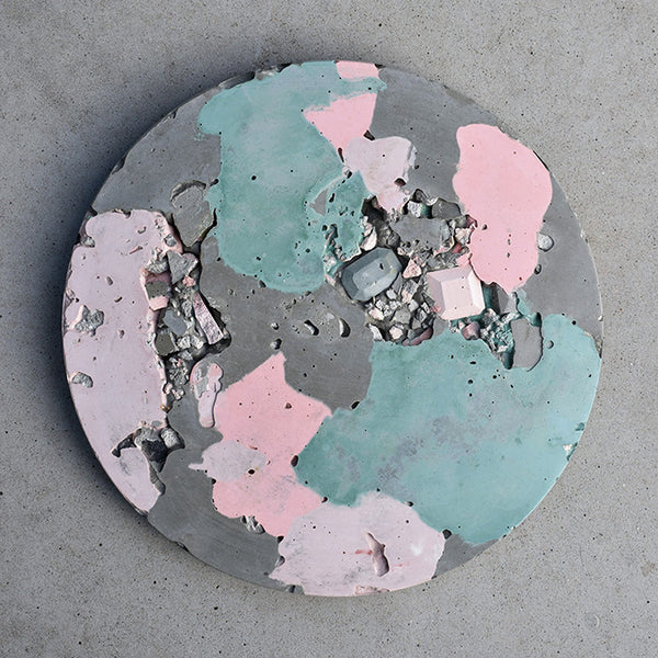 Circular Concrete Wall Art - Large - Pink & Green 03