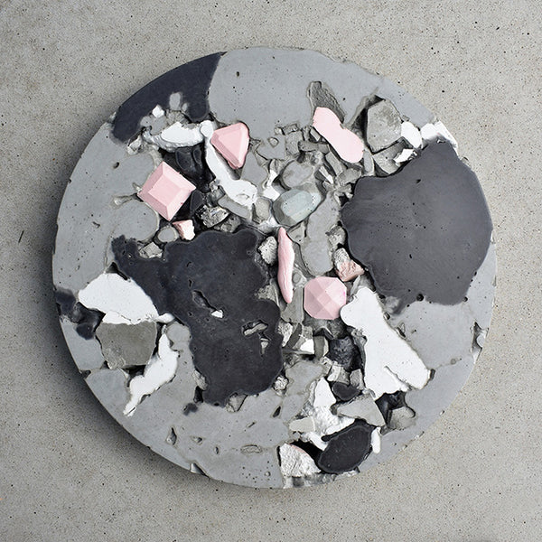 Circular Concrete Wall Art - Large - Pink & Black 01