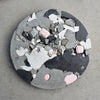 Circular Concrete Wall Art - Large - Pink & Black 03