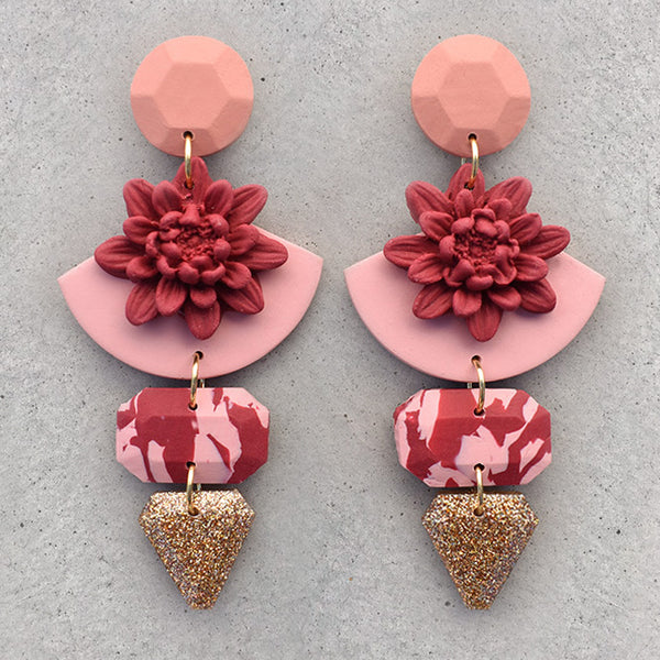 Floral Dangles - Ruby