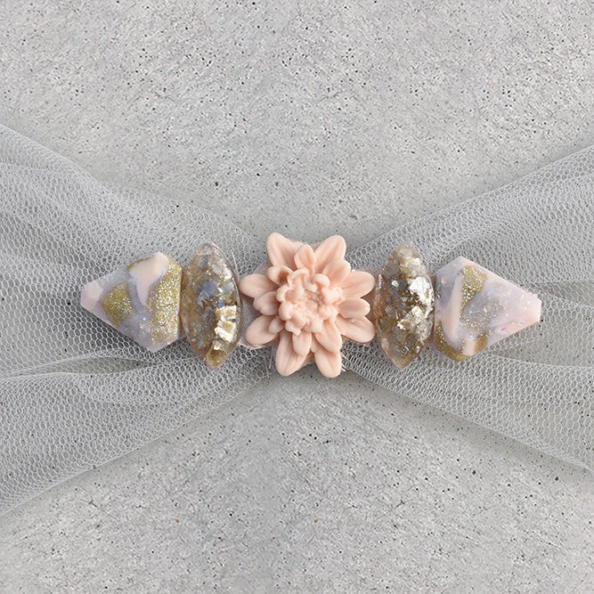 Embellished Hair Scarf - Champagne - 03