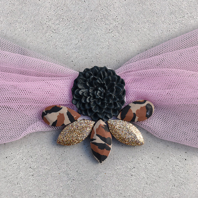 Embellished Hair Scarf - Leopard - 01