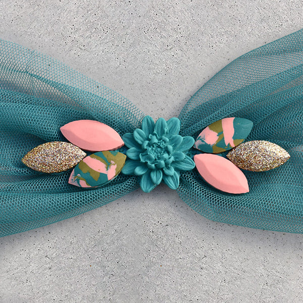 Embellished Hair Scarf - Teal - 02