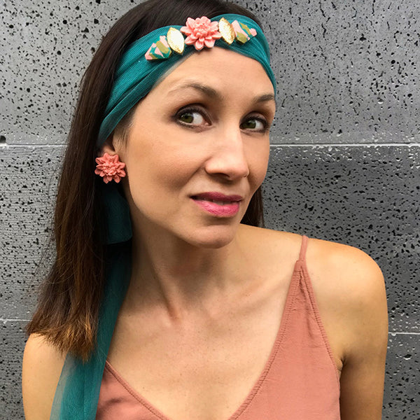 Embellished Hair Scarf - Teal - 03