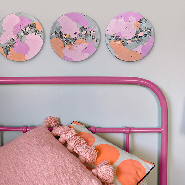 Circular Concrete Wall Art - Large - Pink & Orange 01