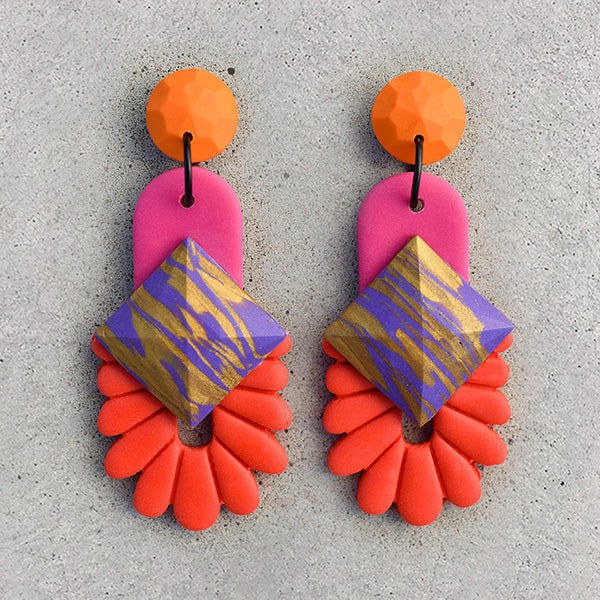 polymer clay drop dangle earrings pink orange red purple and gold