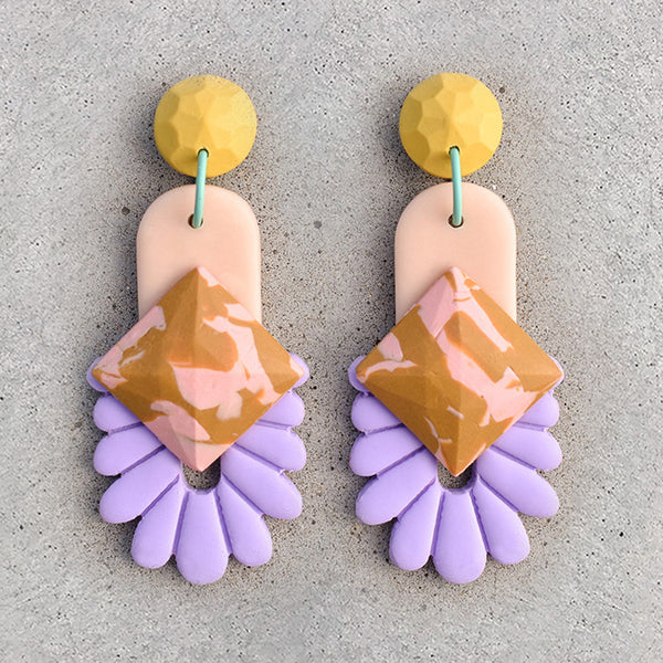 polymer clay drop dangle earrings lavender lemon nude and mustard