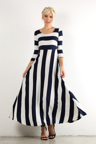 Navy Stripe Maxi Dress